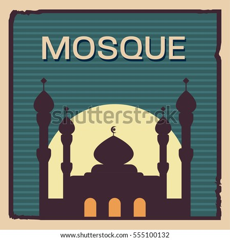 Retro style of mosque illustration in flat color