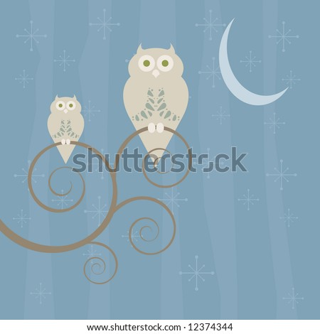Retro style owls perched on a swirly tree in the moonlight - stock vector