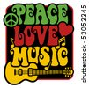 Retro Style Peace, Love, Music - stock photo