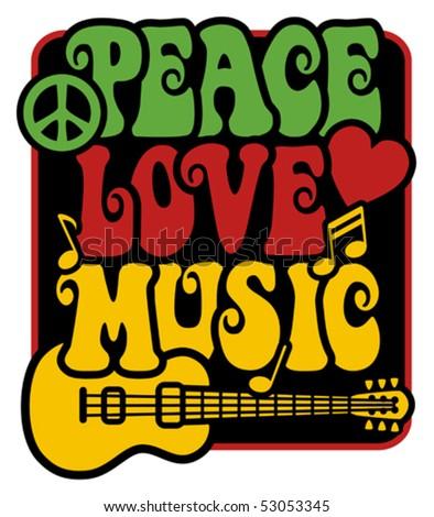 Retro Style Peace, Love, Music - stock vector