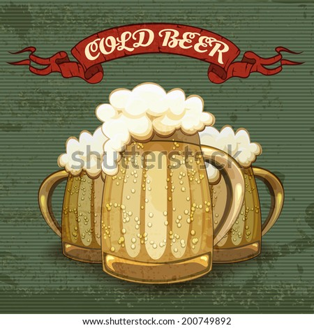 Retro style poster for Cold Beer with three tankards or mugs of golden beer frosted with condensation droplets with good heads of white froth on a textured striped background  vector illustration - stock vector