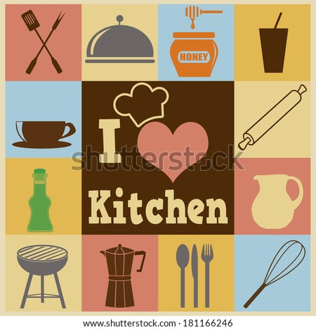 Retro style poster with kitchen symbols and icons, vector illustration - stock vector