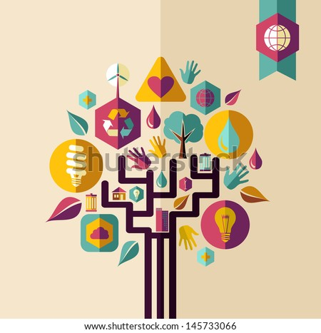 Retro style save the Earth tree idea with icons set. This illustration is layered for easy manipulation and custom coloring - stock vector
