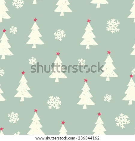 Retro style seamless Christmas pattern with Christmas trees and snowflakes. - stock vector
