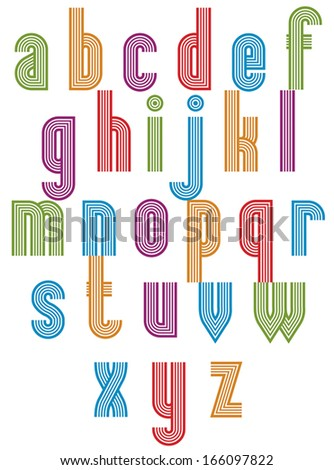 Retro style stripe trendy font, geometric elegant letters vector alphabet. Lowercase letters set. Vector.