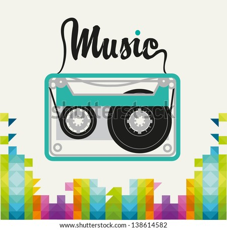 retro-style tape from a tape recorder showing word music - stock vector