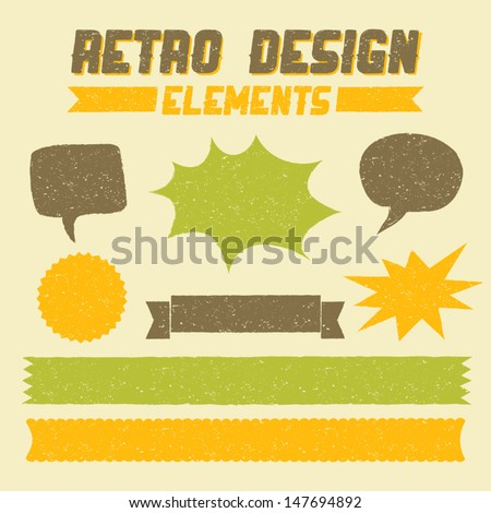 Retro style textured design elements with copy space. - stock vector