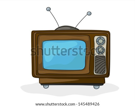 Retro style tv drawing over white background - stock vector