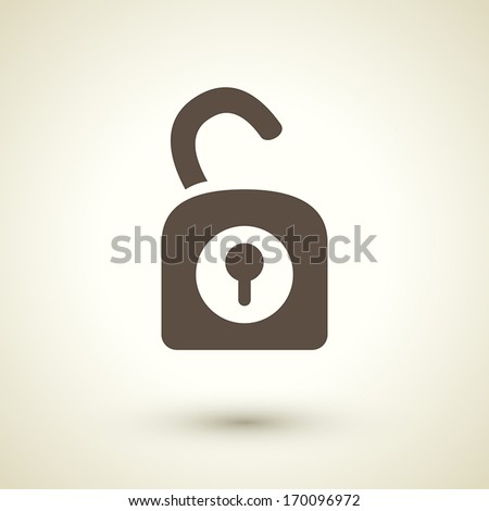 retro style unlock icon isolated on brown background - stock vector