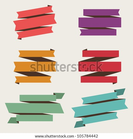 Retro Style Vector Banner and Ribbon Set - stock vector