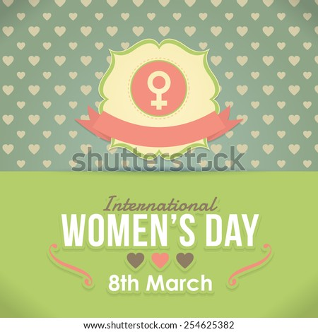 Retro Style Vector Vector Happy Women's Day Greeting Card, Announcement Background - stock vector