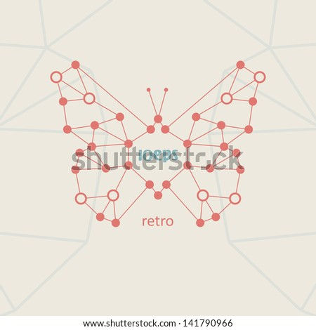 Retro style, vintage technology, butterfly vector illustration eps10. - stock vector