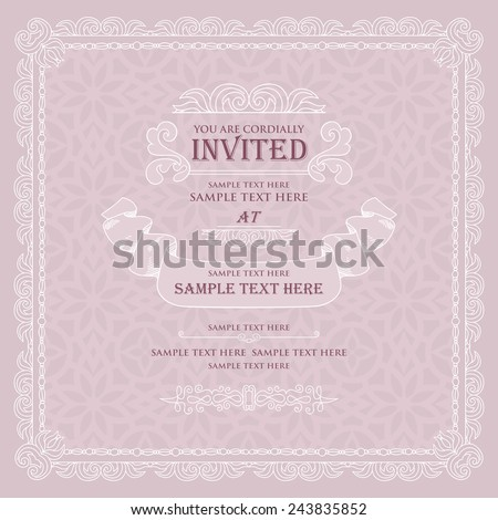Retro Style Wedding Invitation Card Design Beautiful Elements On Floral Background Creative Page For
