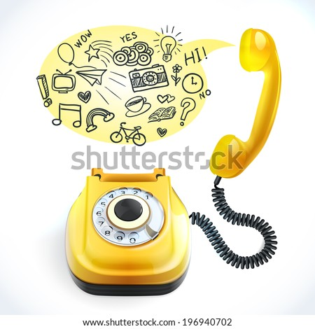 Retro style yellow color telephone with chat bubble doodles vector illustration - stock vector