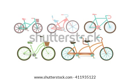 Retro styled bicycle vector illustration. Vintage bicycle set, old retro style bicycles transport wheel design. Old retro style bicycles antique cycle transportation. Old retro style bicycles. - stock vector