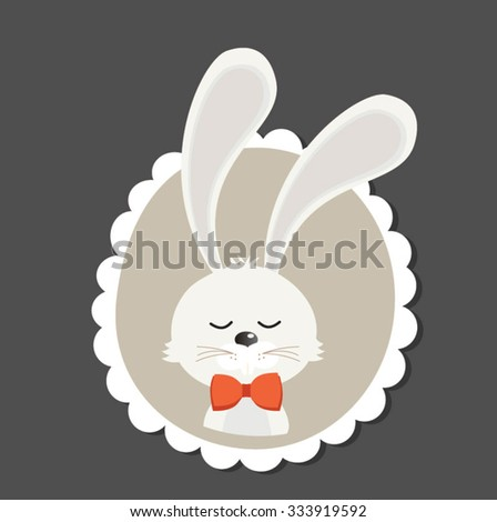 Retro styled Card with cute bunny - vector template with copy space - stock vector