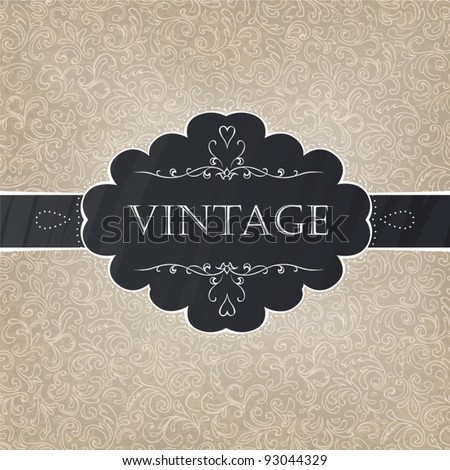 Retro styled card with old-fashioned ornament background. Vector, EPS10 - stock vector