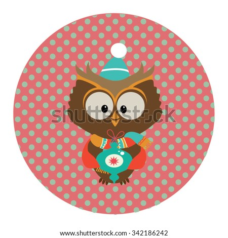 Retro styled Christmas Card with cute owl - vector template with copy space - stock vector