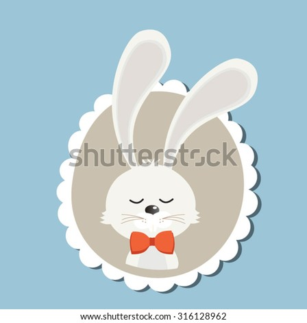 Retro styled Christmas Card with white bunny - vector template with copy space - stock vector