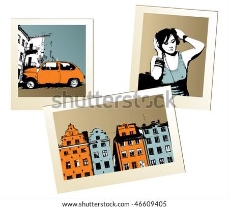 retro-styled city photos - stock vector