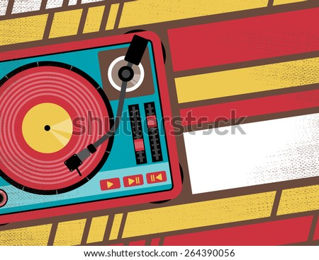 Retro Styled Club Flyer featuring Old School Turntable in Funky Bright Colours - stock vector