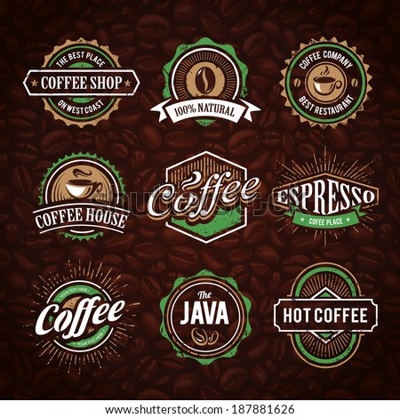 Retro styled coffee emblems vector set on coffee seamless background. - stock vector