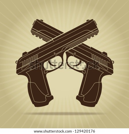 Retro Styled Crossed Pistols Silhouette - stock vector