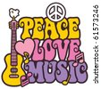 Retro-styled design of Peace, Love and Music with a dove, peace symbol, heart, musical notes and guitar. - stock photo