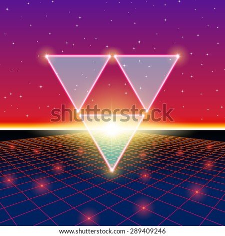 Retro styled futuristic landscape with triforce and shiny grid - stock vector