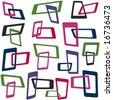 Retro styled interlocking squares in trendy colors - stock vector