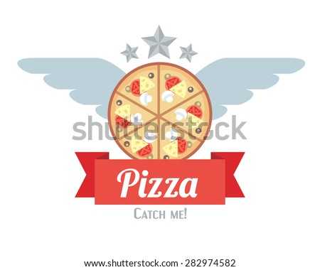 Retro styled logo of pizza with wings and stars - stock vector