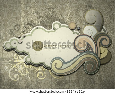 Retro styled paper cloud vector illustration, with overlapping floral elements