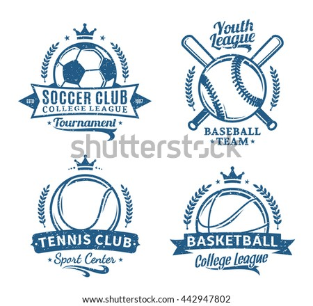 Retro styled sport team logo. Soccer, tennis, baseball, basketball labels for sport tournaments, organizations and apparel. - stock vector