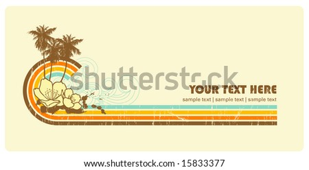 retro-styled summer- or surf-banner with copy space for your text - stock vector