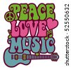 Retro-styled text design of Peace, Love and Music with a peace symbol, heart, musical notes and guitar. - stock vector
