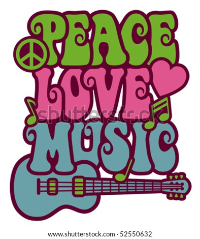 Retro-styled text design of Peace, Love and Music with a peace symbol, heart, musical notes and guitar.