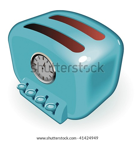 Retro-styled toaster with timer. Vector illustration.