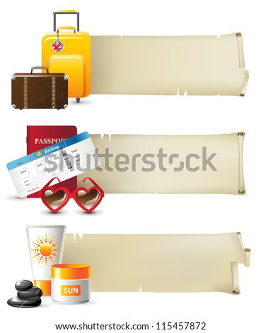 Retro styled travel banners - stock vector