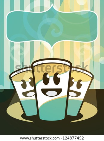 Retro styled trio of hot tasty beverages. Big placard for your text. - stock vector