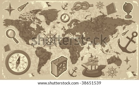 Retrostyled world map travel nautical icons stock vector hd royalty retro styled world map with travel and nautical icons vector illustration gumiabroncs Choice Image