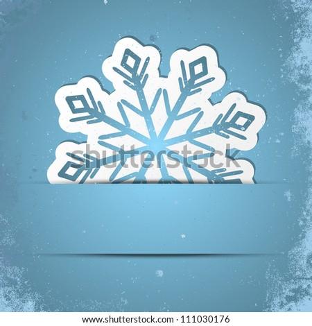 Retro stylized background with Xmas snowflake - stock vector