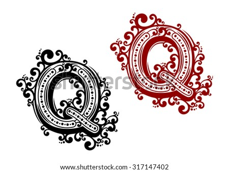 Retro stylized capital letter Q in black and red colors with floral elements for invitation or monogram design - stock vector