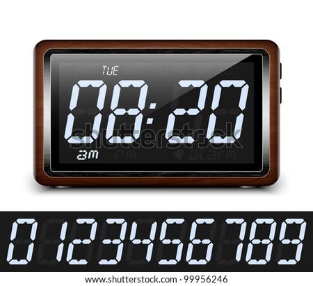Retro stylized Digital Alarm Clock. Vector Illustration - stock vector