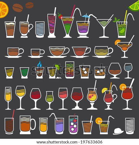 Retro-Stylized Minimalistic Icons of Alcoholic and Soft Drinks - stock vector