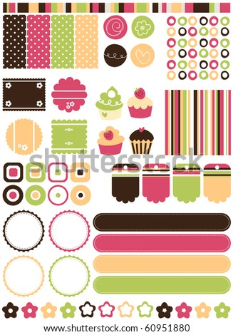 Retro stylized Tags, banners, backgrounds & elements, vector. - stock vector