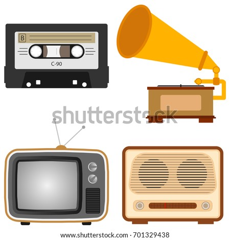 Retro Subjects Old TV Retro Radio Stock Vector (Royalty Free ...