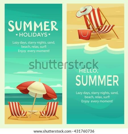 Retro summer banner template with beach umbrella, chair, ocean and sand, landscape, realistic detailed vector illustration - stock vector