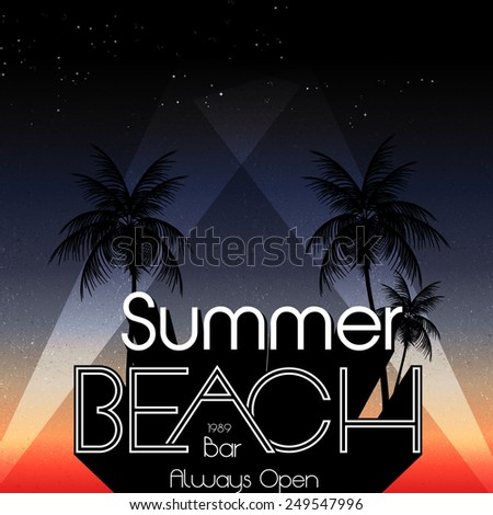 Retro Summer Beach Party Summer Calligraphic Designs with Palm Trees - Vector Illustration - stock vector