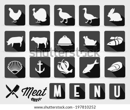 Retro Summer Meat Menu Icons with Long Flat Shadow - stock vector