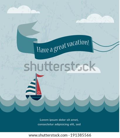 retro summer poster, with wavy sea and retro boat - stock vector
